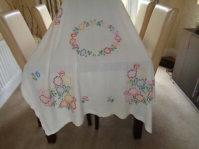 Pretty Vintage Cream Tablecloth Hand Embroidered with Colourful Flowers VGC