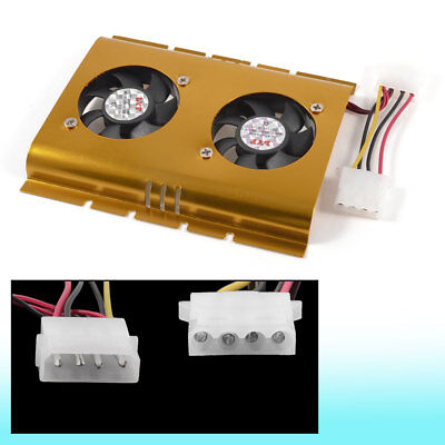 """Black Gold Tone Computer PC 4 Pin Connector Cooler Fan for 3.5"""" Hard Disk"""
