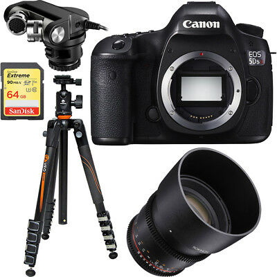 Canon EOS 5DS R 50.6MP Digital SLR Camera (Body) + Rokinon 85mm Cine Lens Bundle