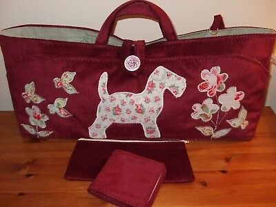Knitting/sewing/craft Bag New Hand Made Dog Applique In Cath Kidston Fabric