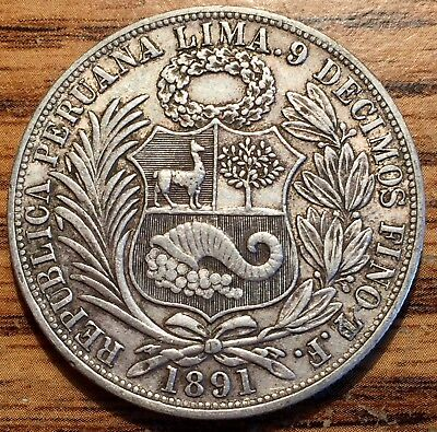 1891 TF/ BF Lima Silver Peru Un Sol Seated Liberty Coin About Uncirculated