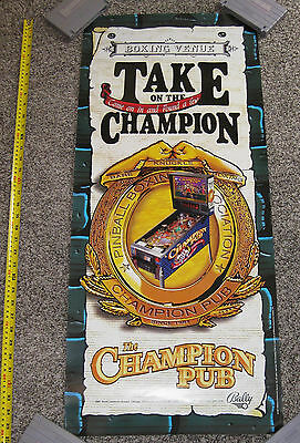 "Original Champion Pub Pinball Poster 1997 Williams Nice Condition 36"" X 16"""