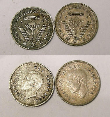 1939 & 40 South Africa Silver 6 P Lot 2 Coins Inv#302-46