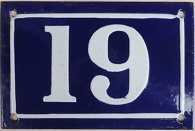 Old blue French house number 19 door gate plate plaque enamel steel sign c1950