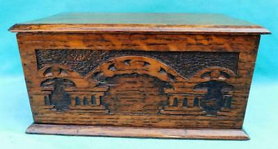 Victorian Hand Carved Solid Oak Box