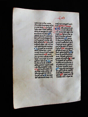 "1280 AWESOME ""Medieval Vellum"", Original Latin Leaf from a Book of Hours...R06"