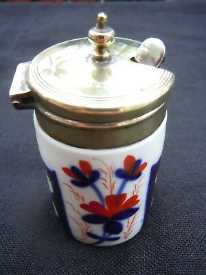 Pretty Vintage Oriental Design China And Silver Mustard Pot With Silver Spoon.
