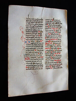 "1280 AWESOME ""Medieval Vellum"", Original Latin Leaf with a ""MINIATED FACE""...R18"