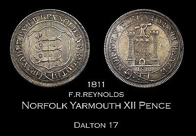 1811 Norfolk Yarmouth Twelve Pence Silver Token - nice!