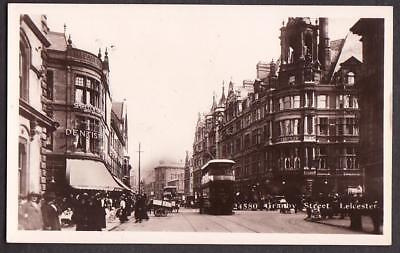 REAL PHOTO POSTCARD GRANBY STREET SHOPS TRAM LEICESTER LEICESTERSHIRE c1910
