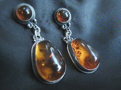 Sterling silver and real amber stud and droplet earrings