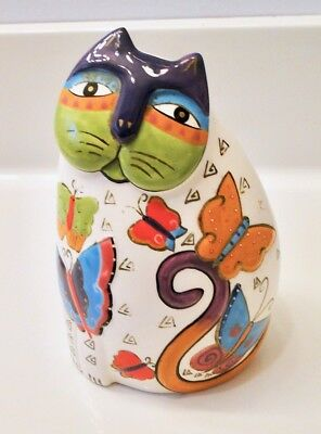 LAUREL BURCH Bella Casa for Ganz CAT w/ BUTTERFLIES Ceramic FIGURINE  5 1/2""