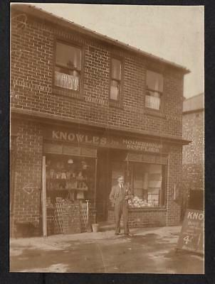 DOUBLE SIZE POSTCARD KNOWLES HOUSEHOLD SUPPLIES SHOP FRONT READING BERKSHIRE c30