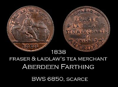 1838 Fraser & Laidlaw Aberdeen Unoffical Farthing - red and brown