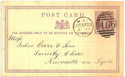 1877 LIVERPOOL SHIPPING LIST QV ½d POSTAL STATIONERY PC 466->NEWCASTLE ON TYNE