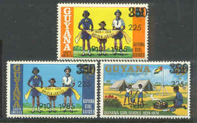 GUYANA 1985 GIRL GUIDES OP  RARE Surcharge INVERTED L ERROR!!