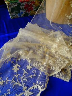 A Stunning Victorian Tambour & Brussels Princess Lace Floral Wedding Flounce