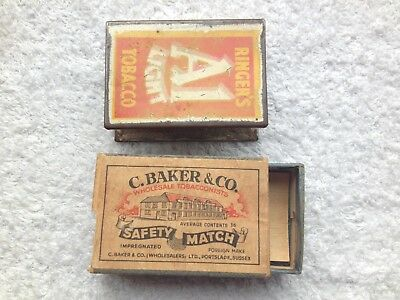 Original Advertising Matchbox Holder Ringers A1 Light Tobacco + Baker Portslade