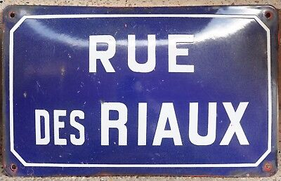 Old French enamel steel street sign plate road name plaque Riaux stream Burgundy