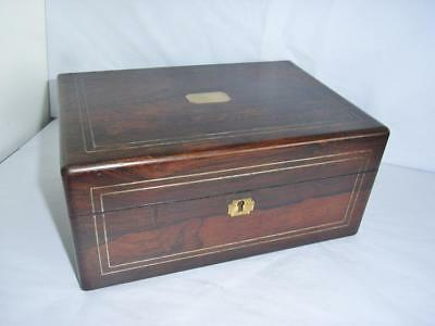 Superb Victorian Rosewood Sewing Box Inner Tray & Compartments Inlaid Stringing