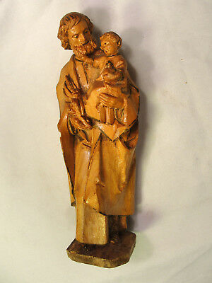 "Vtg ANRI Hand Carved Wood St. Joseph & Baby Jesus Statue Icon 6"" Italy"