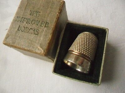 Antique Silver Clad DORCAS Thimble in original box.