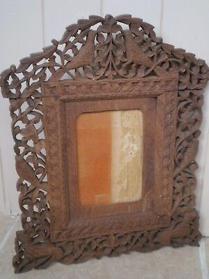 Vintage Antique Chinese Highly Carved Wooden Photo Frame