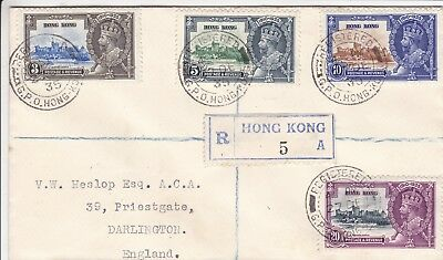 Hong Kong 1935 Silver Jubilee Set On Neat Registered Cover To England