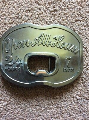 Open All Hours , 24hours 7days  Belt Buckle .