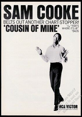 1964 Sam Cooke photo Cousin Of Mine record release vintage trade print ad