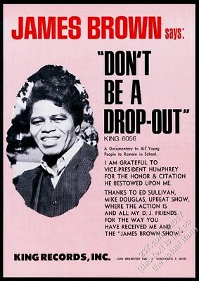 1966 James Brown photo Don't Be A Drop-Out record release trade print ad