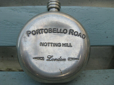 Portobello Road London English quirky unusual hand made pewter hip flask