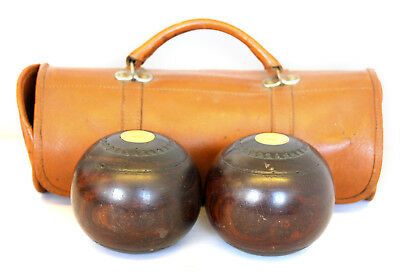 Two Antique Vintage Wooden Garden Bowl Balls Boules in Leather Carry Case
