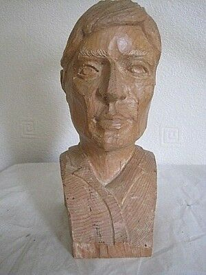 Beautifully Hand Carved Treen Bust Of A Handsome Man, 22 Cm High