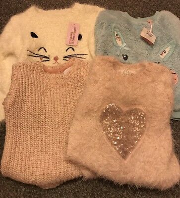 4 X Girls Jumpers 12-18 Months