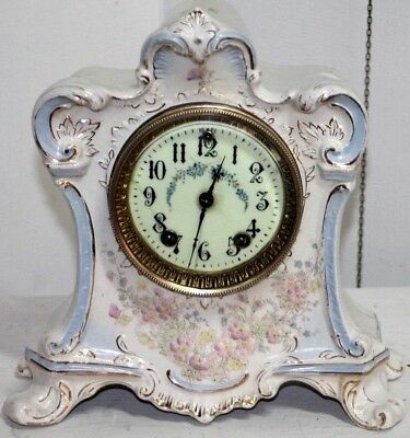 "Antique Gilbert ""melba"" Curvy Painted Porcelain Mantel Clock W/ Porcelain Dial."