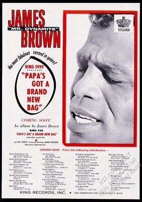 1965 James Brown photo Papa's Got A Brand New Bag record release trade print ad