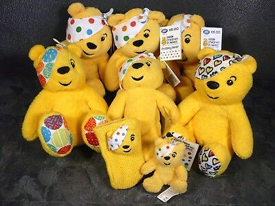 Bbc Children In Need 2007 Collection 8X Pudsey Bear Soft Toys Keyring Phone Cosy