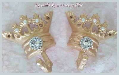Glamorous Gold Crown Hooks with Rhinestones..Prince or Princess Decor