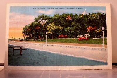 Mississippi MS Pascagoula Beach Boulevard Sea Wall Postcard Old Vintage Card PC