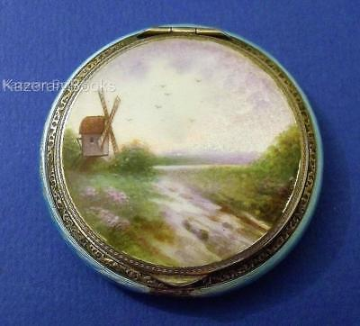 Hallmarked Solid Silver Landscape Pictorial Guilloche Enamel Powder Compact 1928
