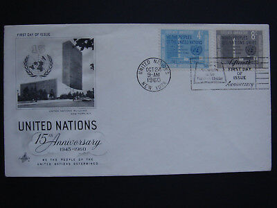 United Nations UN 15th Anniversary 1960 First Day Cover FDC