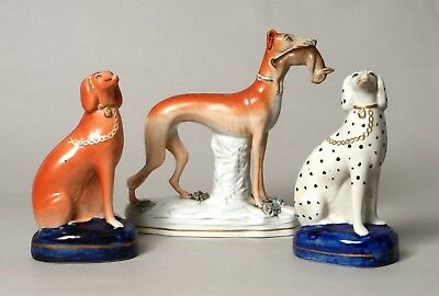 Excellent Group Of Three Antique 19Thc Staffordshire Figures Greyhound Dogs