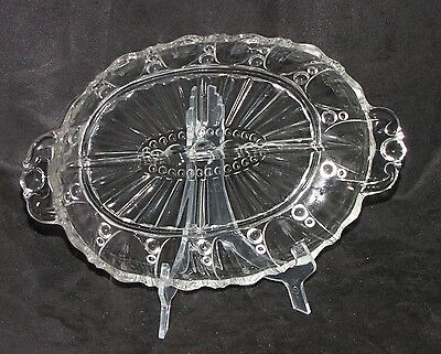 Vintage Anchor Hocking Oyster/Pearl Depression Glass Crystal Divided Dish