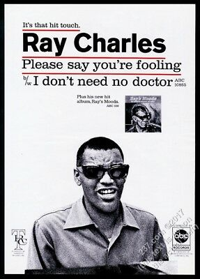 1966 Ray Charles photo Please Say You're Fooling record release trade print ad