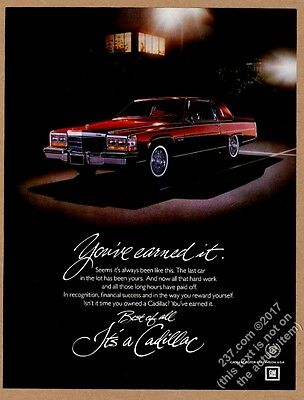 1982 Cadillac Coupe red car photo vintage print ad