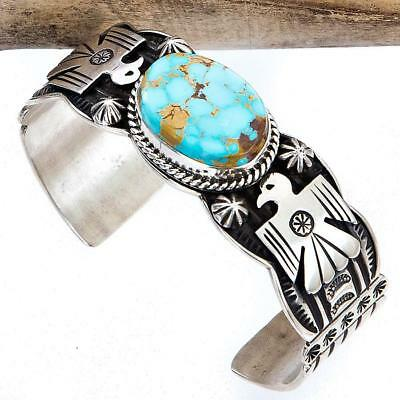 Mens ANDY CADMAN Navajo THUNDERBIRD Eagle Bracelet Turquoise Sterling Silver .A