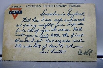 Military US Army American Expeditionary Forces YMCA Postcard Old Vintage Card PC