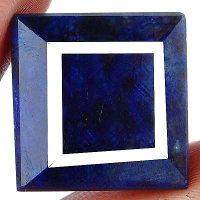 LARGE 19.5mm (74.00cts) SQUARE-FACET CERTIFIED NATURAL MIDNIGHT-BLUE SAPPHIRE