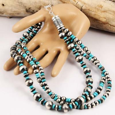 CHUNKY 3 Strand Antiqued Navajo Pearls Sterling Silver Turquoise Bead Necklace